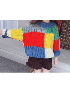 Stylish Little Girl Color Blocking Crochet Sweater