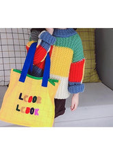 Load image into Gallery viewer, Stylish Little Girl Color Blocking Crochet Sweater