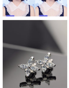 Zhou Dongyu, four leaf grass, zircon crystal earrings, ear clip, no ear hole, female earrings, lovely Japanese and Korean Earrings