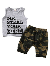 Load image into Gallery viewer, Baby Boy 2-Piece Outfits MR.STEAL YOUR GIRL Tank Top+Camo Pants