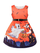 Load image into Gallery viewer, Toddler Girl Halloween Ghost Pumpkin Sleeveless Dress with Belt