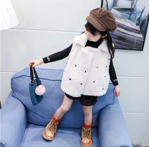 Trendy Toddler Girls White Fleece Lining Vest