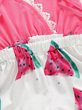 Load image into Gallery viewer, Trendy Infant Baby Girl Summer Lace Trimmed Watermelon Jumpsuit