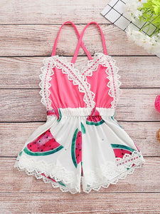 Trendy Infant Baby Girl Summer Lace Trimmed Watermelon Jumpsuit
