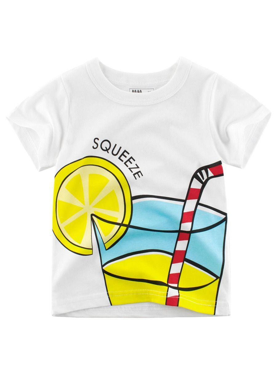 Summer Letters Print White T-shirt for Toddler Big Boys