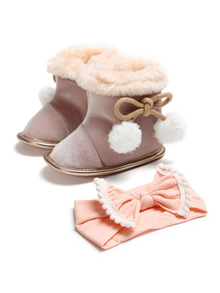 Winter 2-Piece Baby Girl Soft Fur Snow Boots Matching Headband