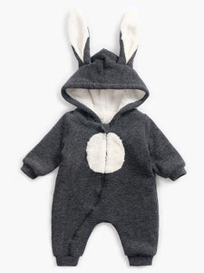 Winter Bunny Ear Pattern Adorable Fleece-lined Infant Baby Overall Pajama