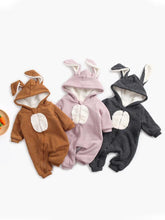 Load image into Gallery viewer, Winter Bunny Ear Pattern Adorable Fleece-lined Infant Baby Overall Pajama