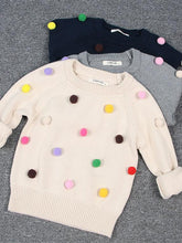 Load image into Gallery viewer, Cute Colorful Jumper Ball Trimmed Knitted Cotton Sweater Children Winter Clothes