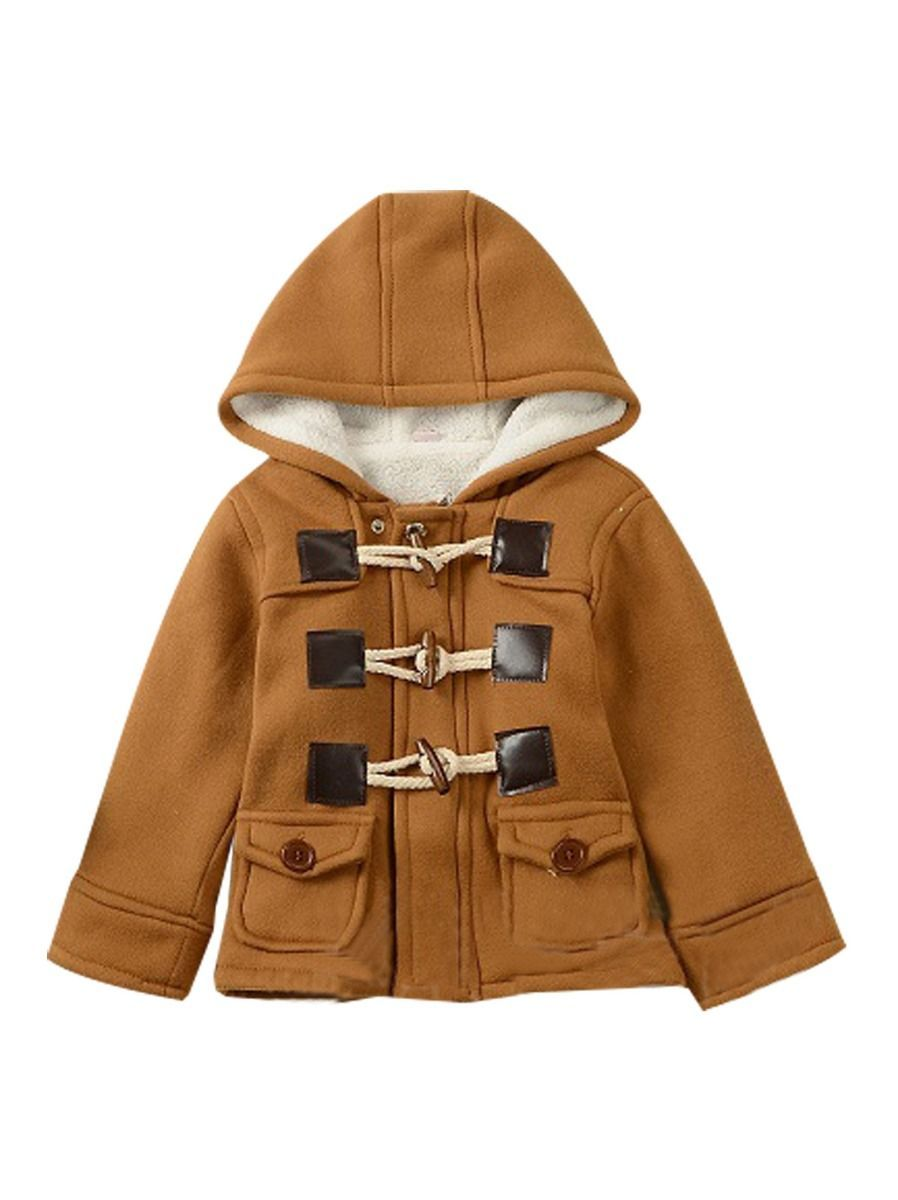 Winter Stylish Baby Toddler Boys Fleece Lining Hooded Coat