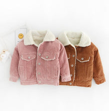 Load image into Gallery viewer, Winter Toddler Girls Fleece-linded Corduroy Coat Pink/Brown