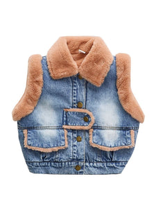 Winter Toddler Girls Fleece-lined Denim Vest