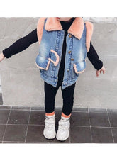 Load image into Gallery viewer, Winter Toddler Girls Fleece-lined Denim Vest