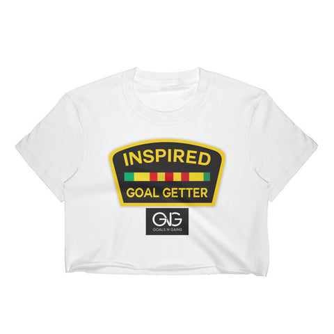 Inspired Goal Getter Women's Crop Top - White