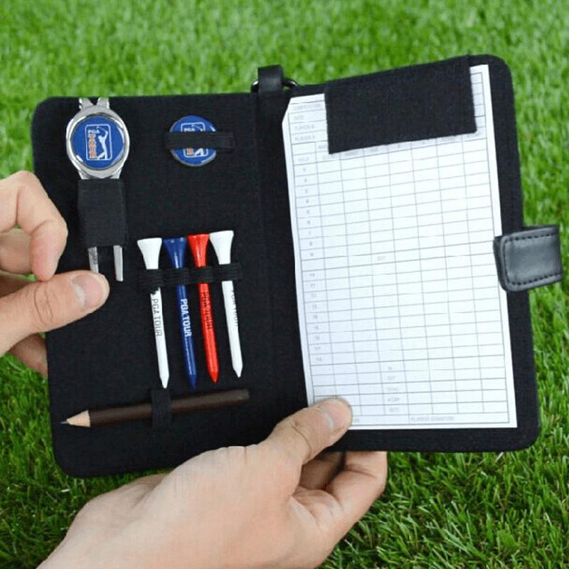 Black Leather Scorecard, tee, ball marker, divot tool and pencil holder