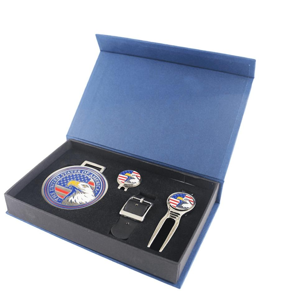 USA Eagle Gift Set (Bag Tag, Magnetic Hat Clip w/ Marker, Divot Repair tool w/ Marker)
