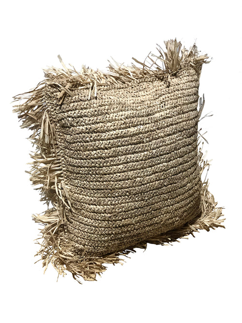 Raffia Cushion With Fringe