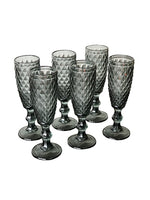 Zahara Flute Glasses - Grey - Set of 6