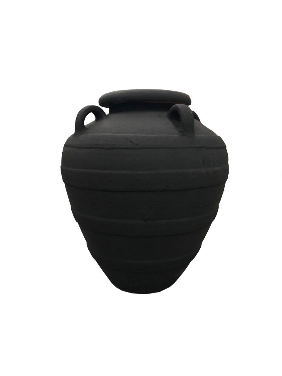 Pot With Handles & Stripes - Black