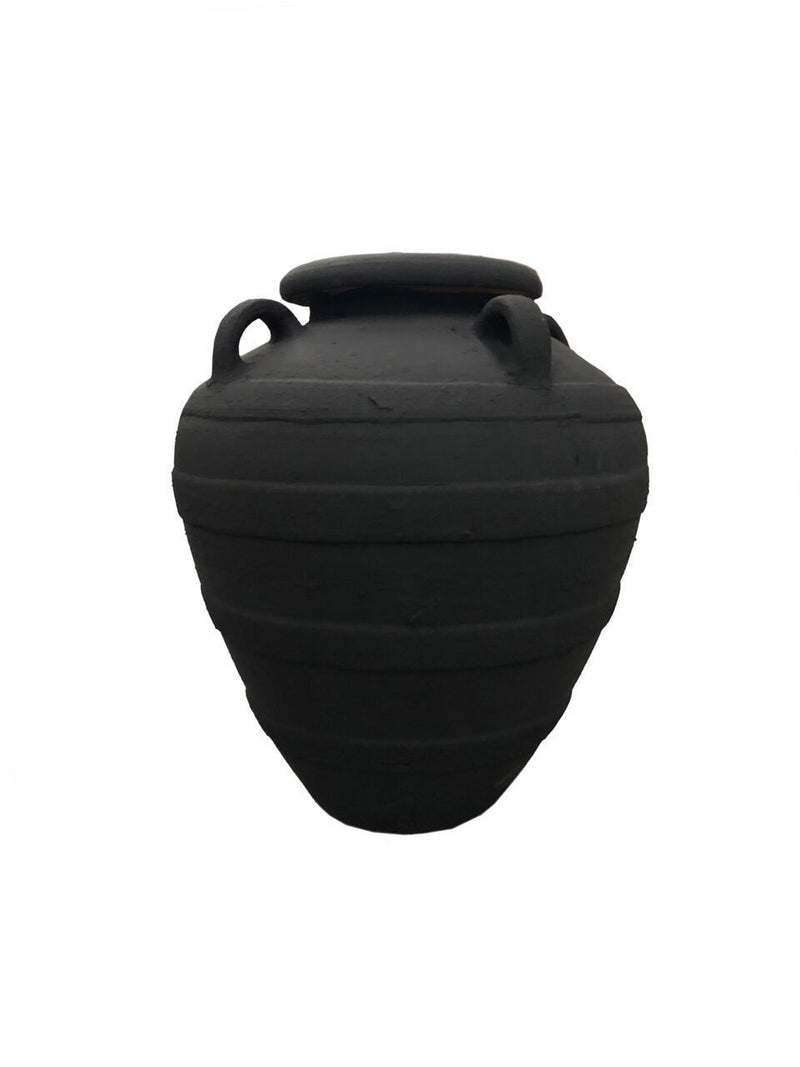 Pot - with Handles & Stripes - Black