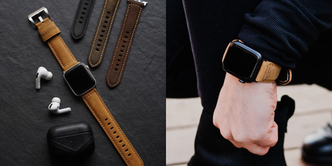 A leather AirPod case, Airpods, and an Apple watch with a variety of leather watch straps near each other