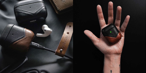 Leather Airpod cases beside Airpods and a leather watch strap