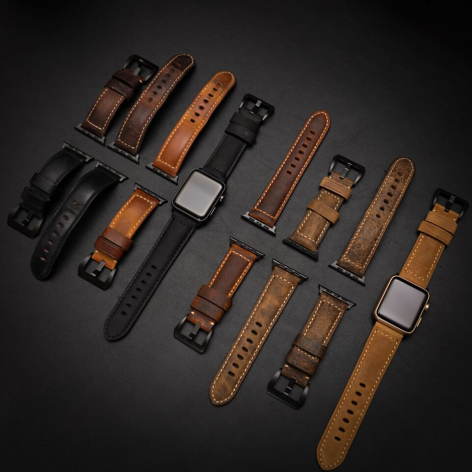 Flatlay of all different color Bullstrap leather watch straps