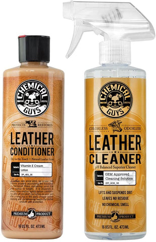 Two leather cleaning products placed beside one another
