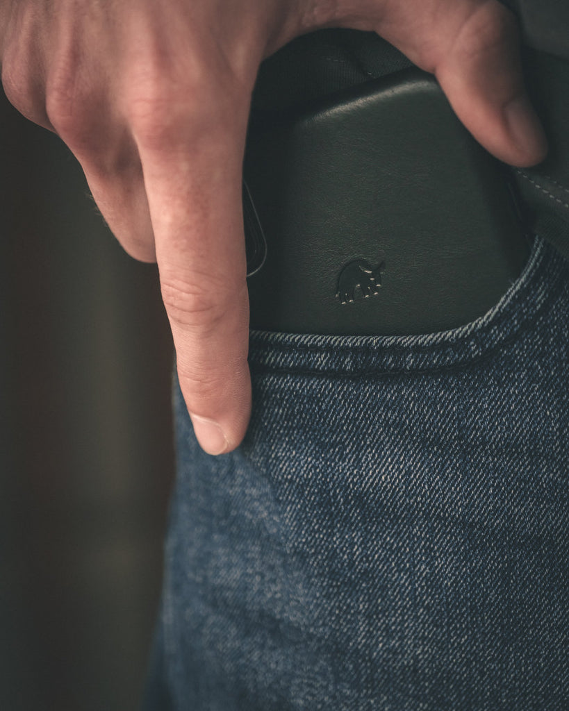 Ocean blue iPhone case in man's pocket