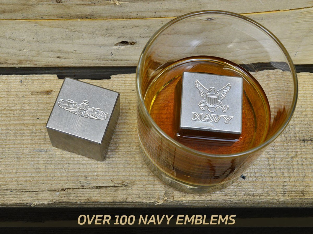 Milspin custom engraved Navy stainless steel whiskey stones