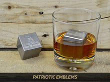 Milspin custom engraved Patriotic and Law Enforcement stainless steel whiskey stones