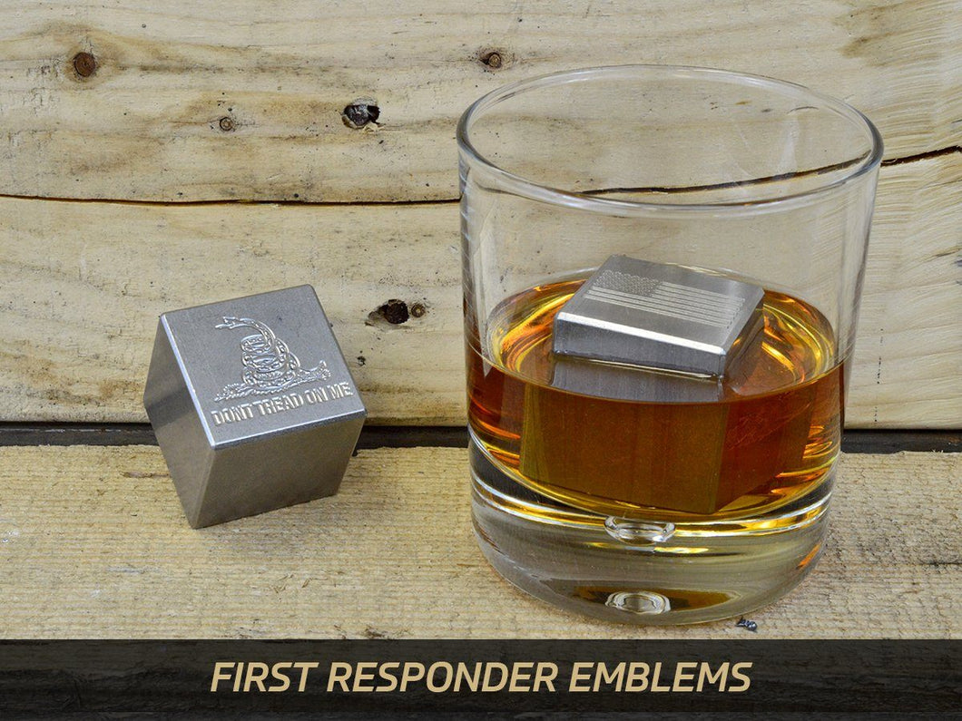 Milspin custom engraved (First Responder/Patriotic/Military) stainless steel whiskey stones