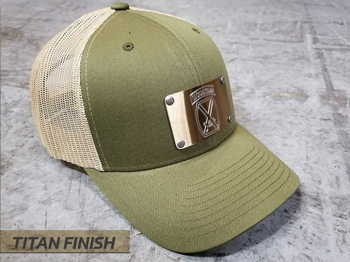 Milspin U.S. ARMY Custom Engraved Machined Metal Plate Hat (Select 1 Emblem)