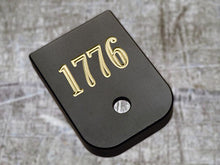 Milspin handgun custom engraved 1776 magazine base plate
