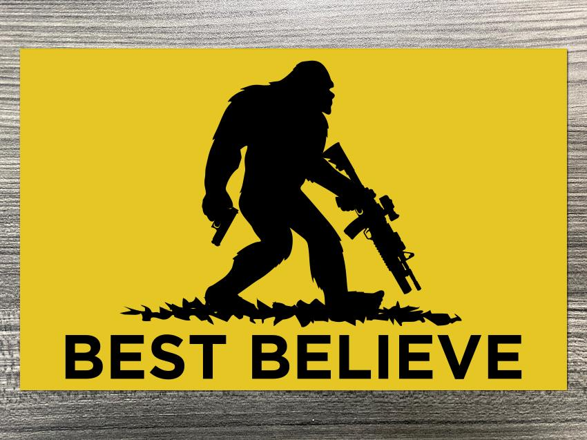 Best Believe Sasquatch Flag Decal