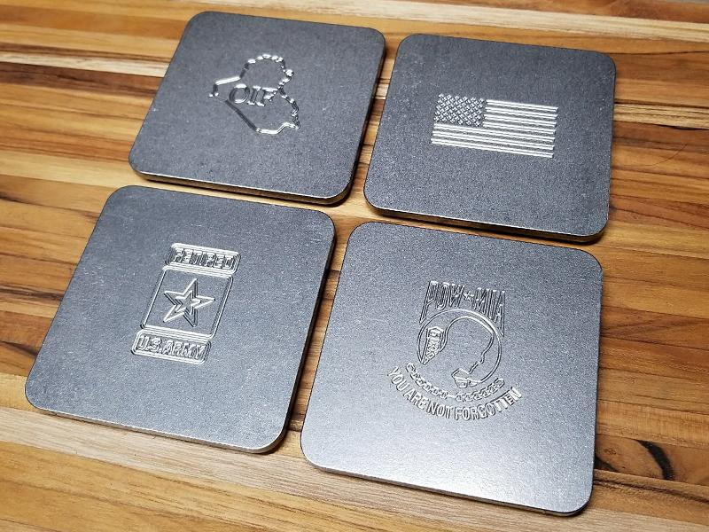 Up-Armored U.S. ARMY  Engraved Stainless Steel Coaster Set (Select 4 Emblems)