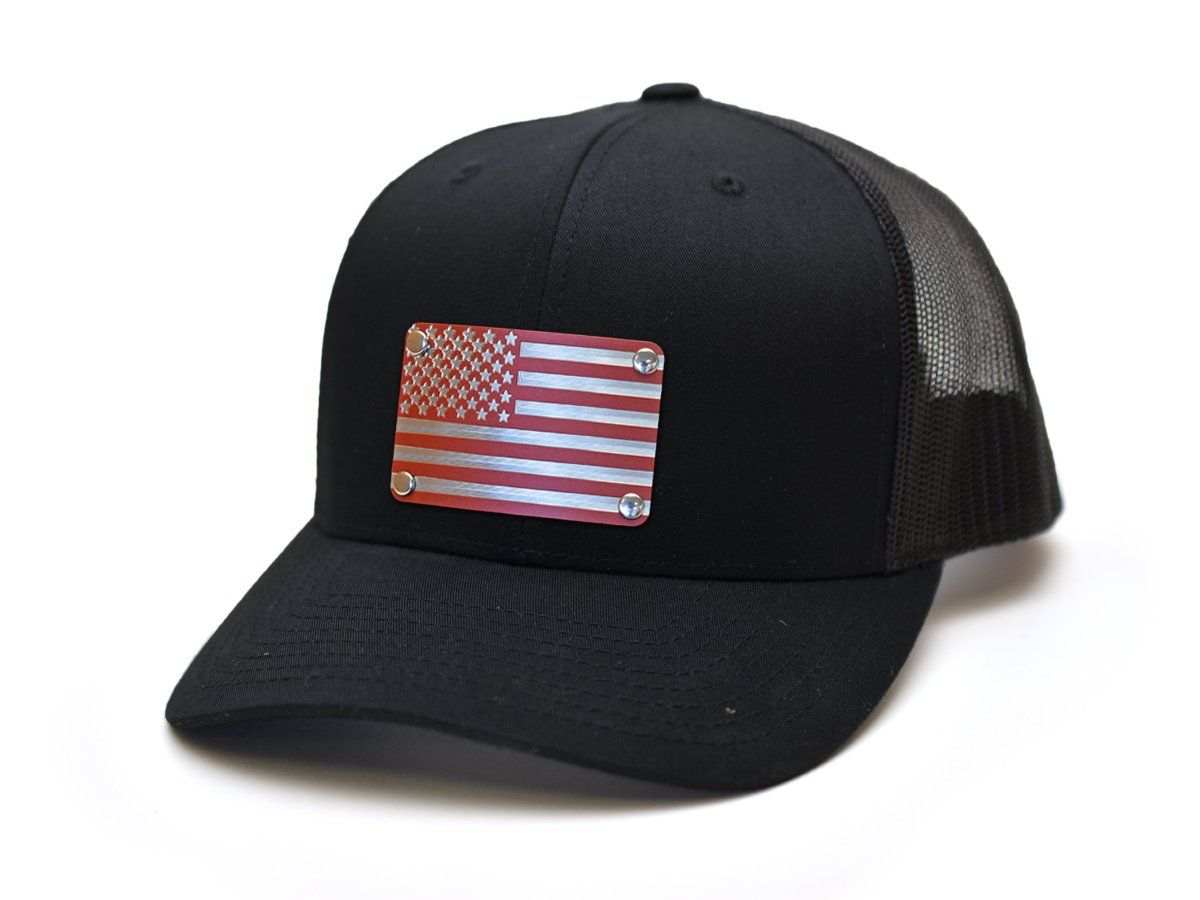 Milspin American Flag (Red) Stainless Steel Plate Snap-Back