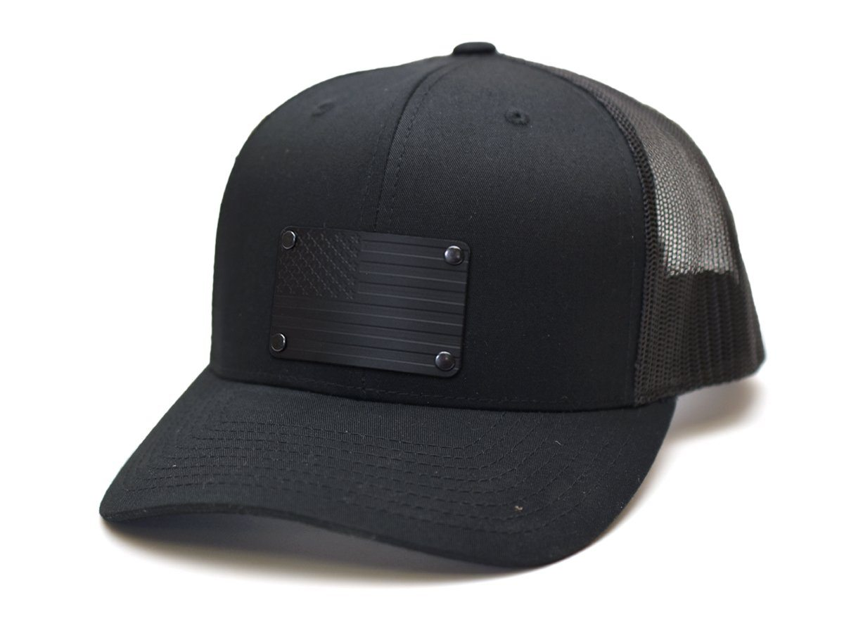 Blacked Out American Flag Steel Plated Snap-Back