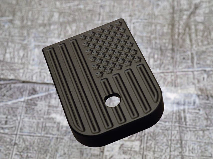 MILSPIN engraved magazine base plate with blacked out insignia