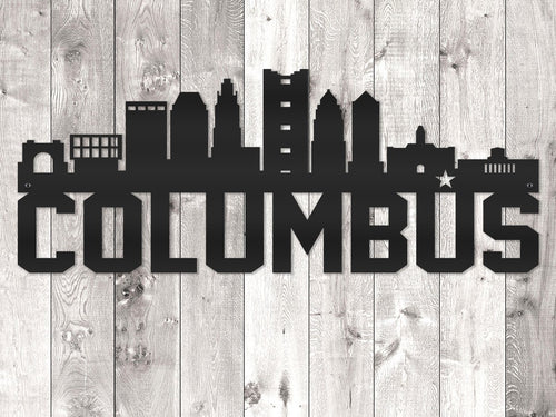 Columbus City Skyline - Block Lettering