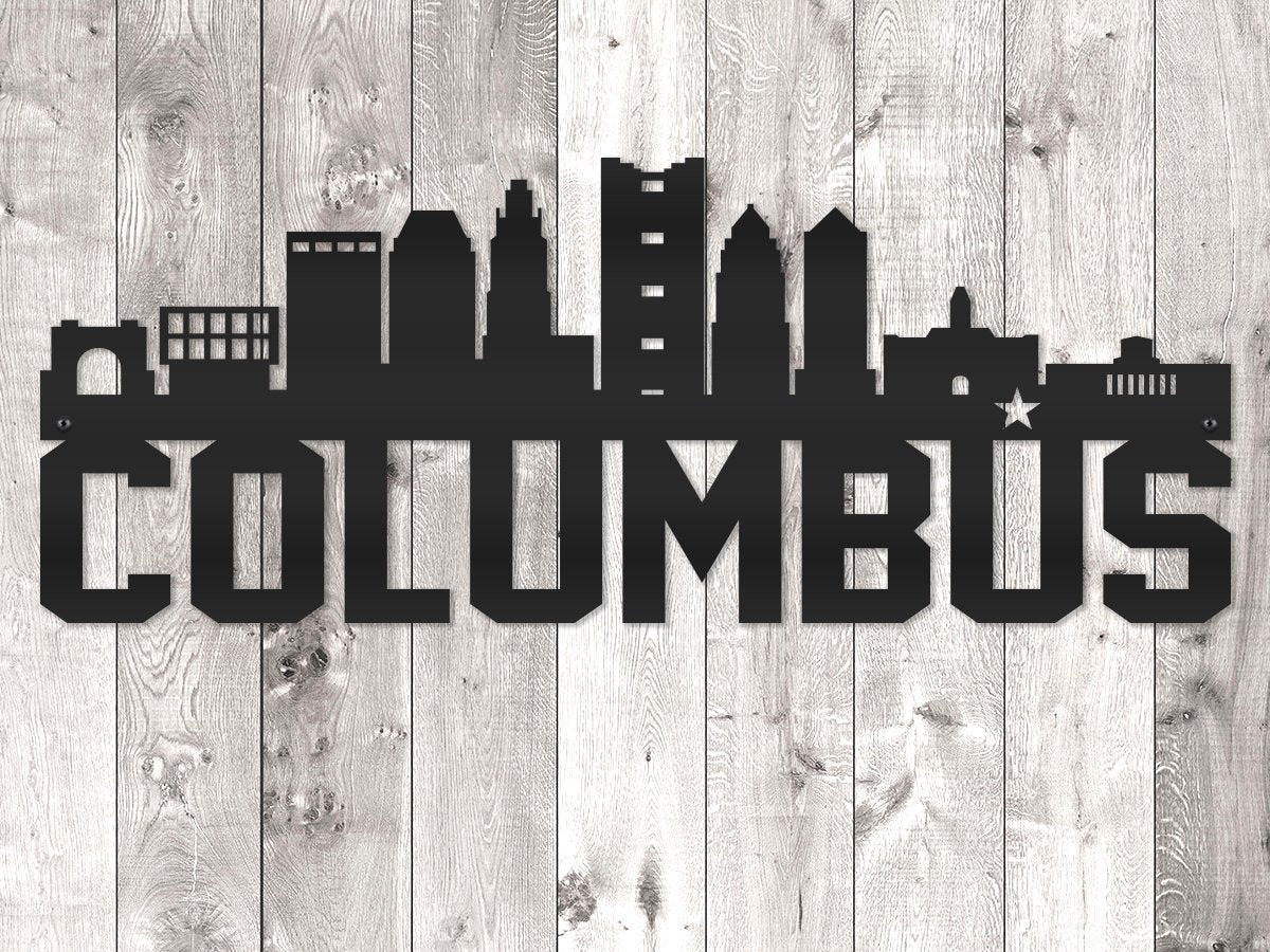Milspin Columbus City Skyline - Block Lettering