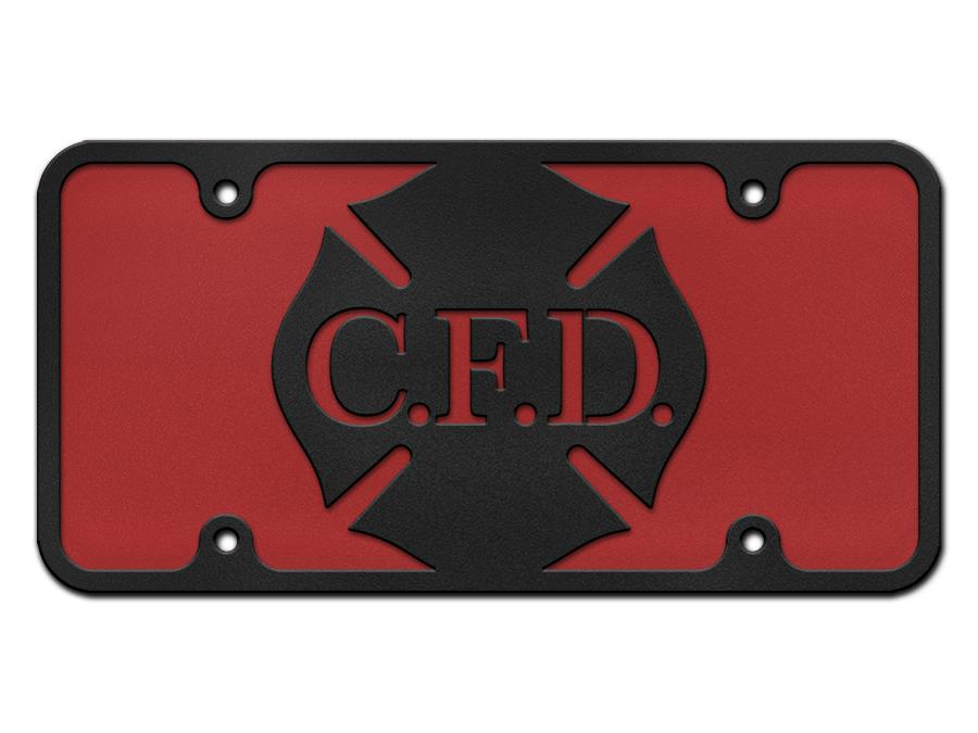 Milspin Custom Letter Maltese Cross Logo Steel License Plate