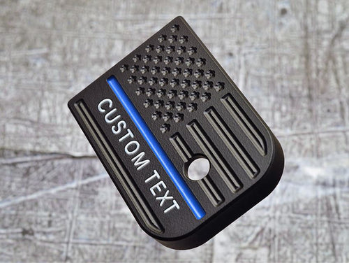 Custom Text Thin Blue Line Flag Magazine Base Plate