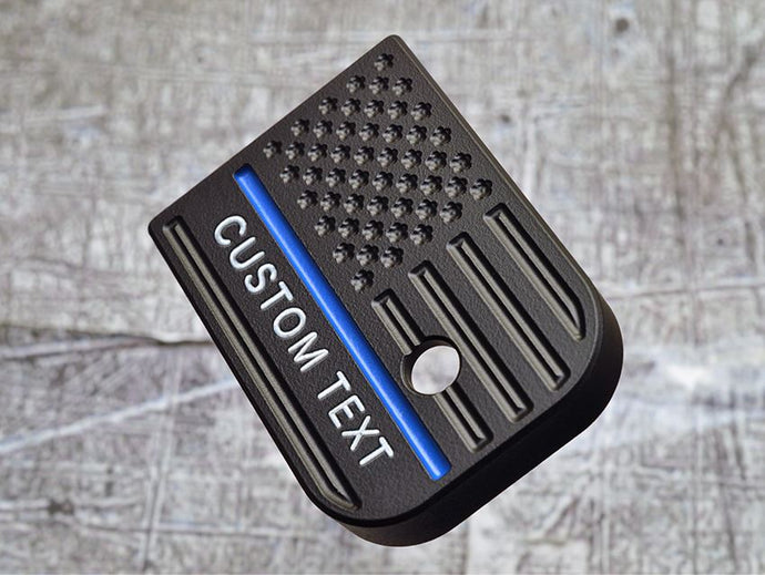 Milspin Custom Text Thin Blue Line Flag Magazine Base Plate
