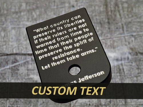 engraved MILSPIN custom plate magazine base