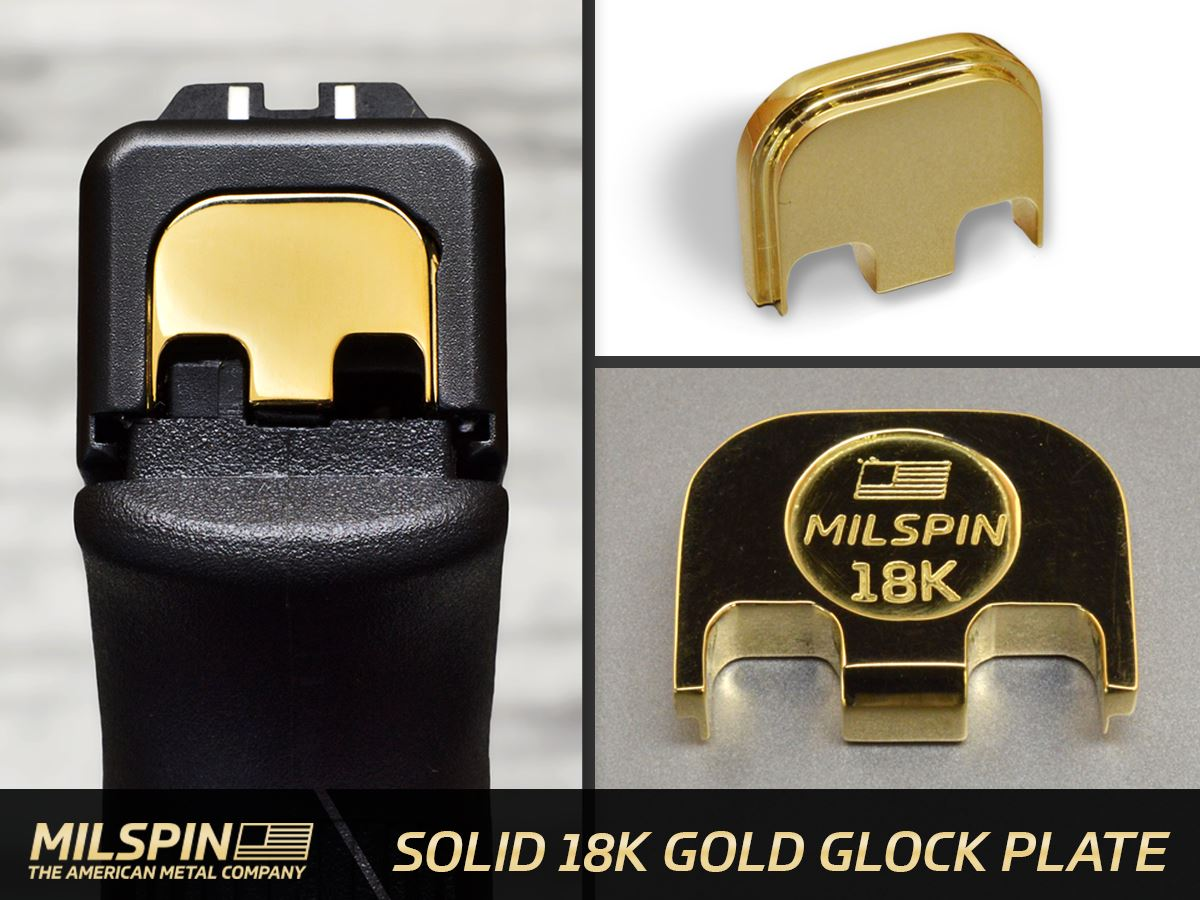 Milspin Solid 18 Karat Gold Slide Back Plate