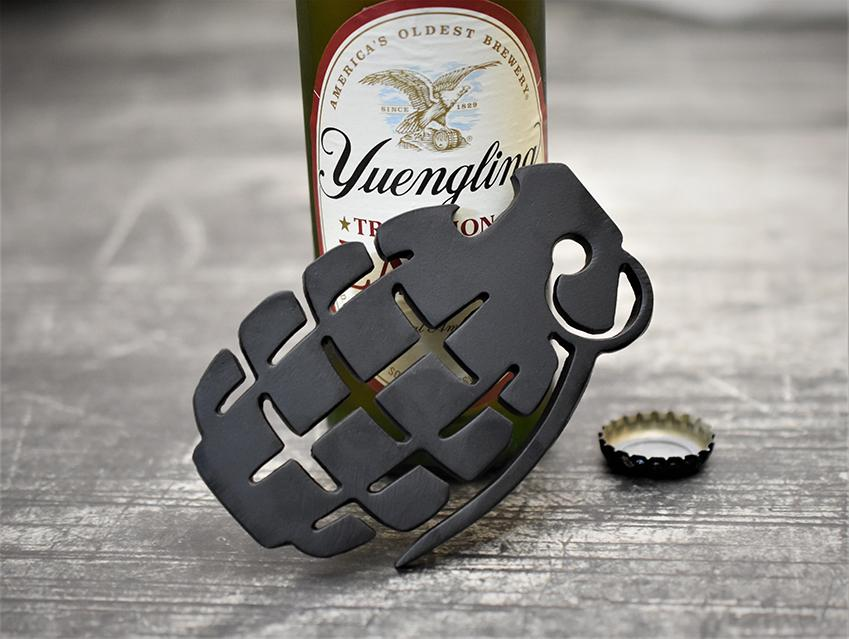 MILSPIN custom designed pineapple grenade bottle opener