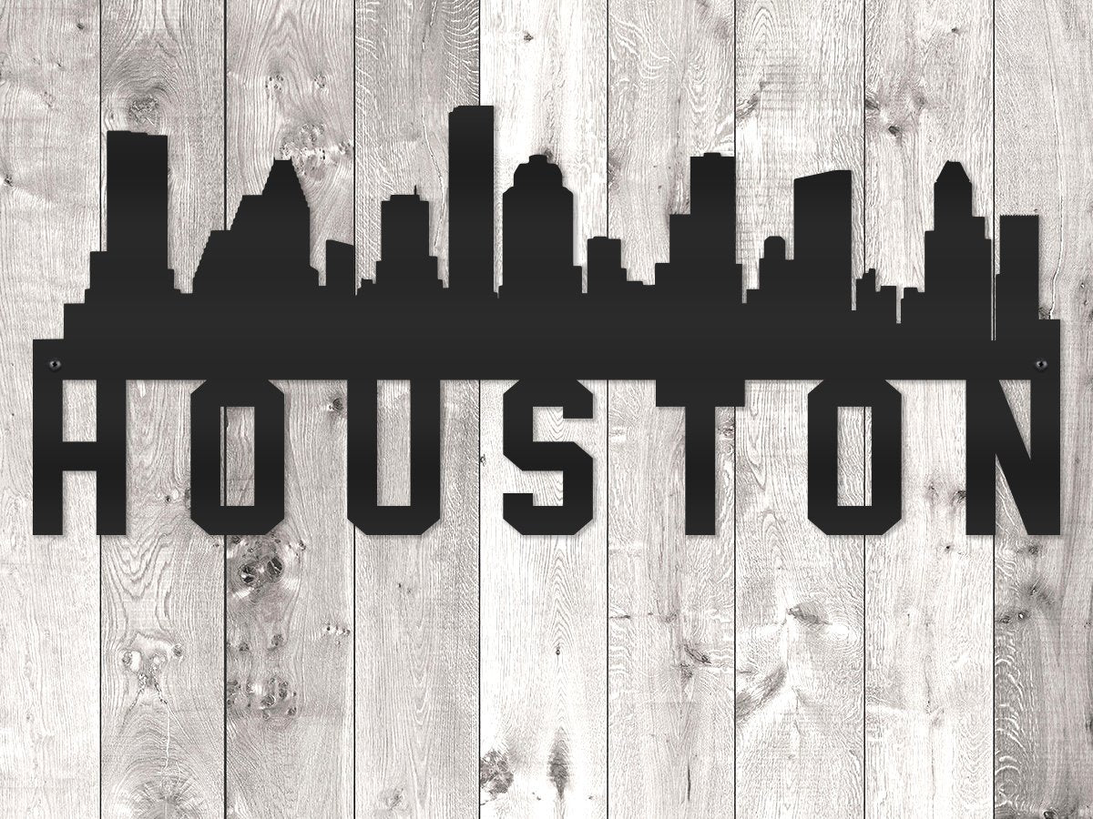 Houston City Skyline - Block Lettering
