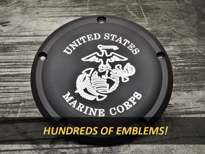 Milspin custom engraved Harley Davidson Derby Covers