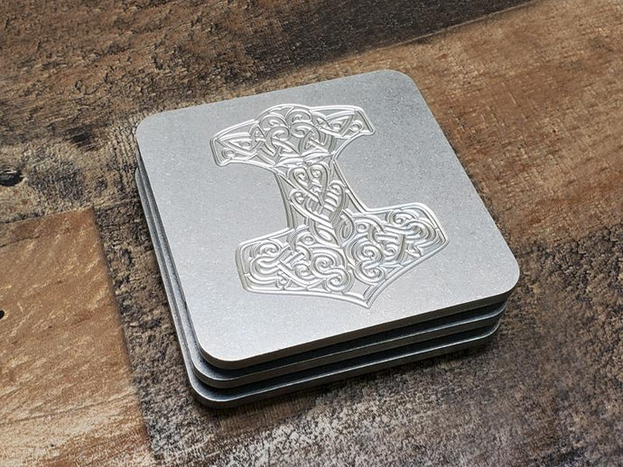 Milspin Up-Armored Mjolnir Thor's Hammer Skull Engraved Stainless Steel Coasters